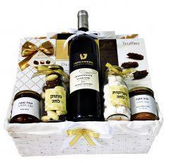 סלסלת שוקולד ויין לראש השנה